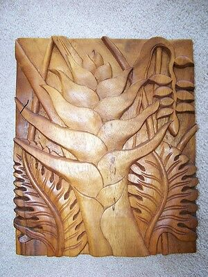 Beautiful Hand Carved In Hawaii Rare Hawaiian Koa Wood Floral Wall Hanging  #2