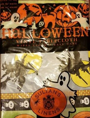 "Halloween Flannel Back Vinyl Tablecloth 60"", Round 4 people, Sultan's Linens"