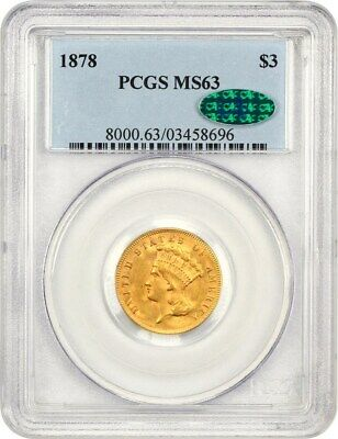 1878 $3 PCGS/CAC MS63 - Popular Gold Type Coin - 3 Princess Gold Coin
