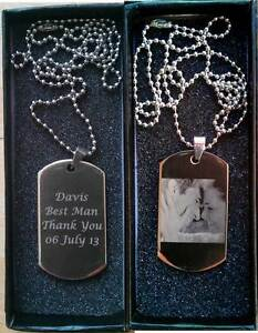 Personalised Engraved Photo/Text Stainless Steel Army Dog Tags ID Tag Gift Box