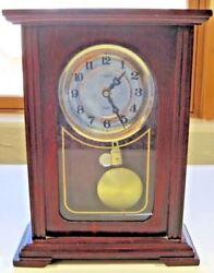Camer Quartz Wood Grandfather Clock Antique Aged Decor Mantel Shelf Glass Brass