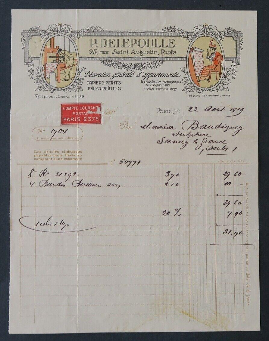 Facture 1919 decoration gle d appartement delepoulle paris  entête illustrée 32