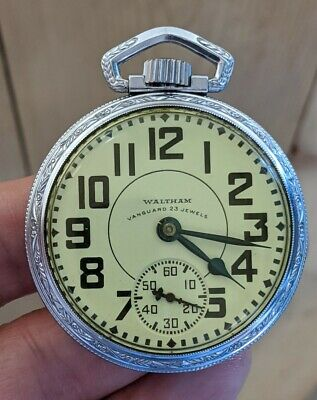 1936 Waltham Vanguard 16 size 23J pocket watch Serviced Extremely nice Dial!!