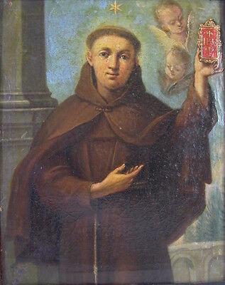 Gemälde um 1800 - Heiliger Aloisius - Jesuiten Mönch mit Kreuz Gebetbuch Putti