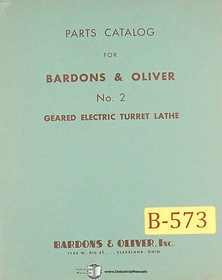 Bardons Oliver No. 2 Turret Lathe Parts Manual 1941