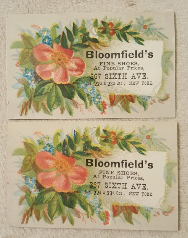 2 Antique Vintage Victorian Trade Cards Bloomfield