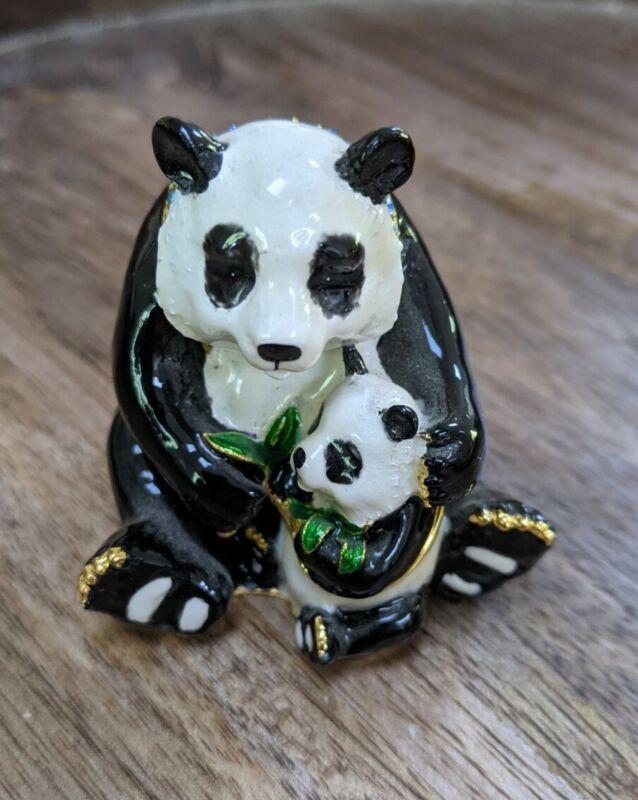 Panda with Baby Hinged Enameled Trinket Stash Box Jeweled