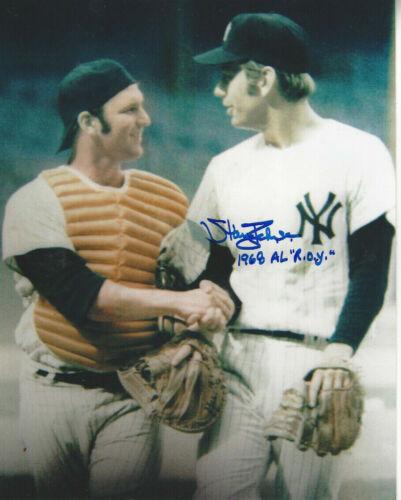 Yankees Stan Bahnsen Autographed 8x10 photo with Thurman Munson 1968 AL ROY add