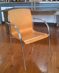 8X STYLISH ITALIAN MAPLEWOOD VENEER AND CHROME DINING CHAIRS Mosman Mosman Area Preview