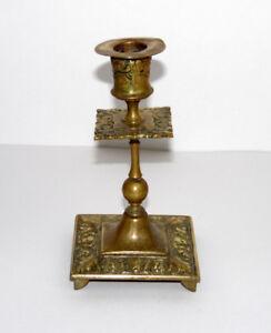 Antique Victorian Brass Candlestick Holder Demon Devil Face Patina