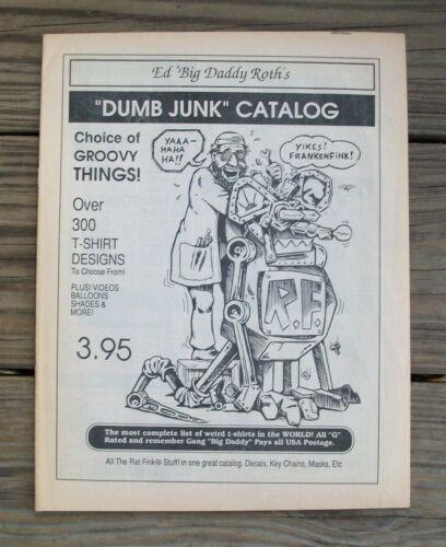 Old Vintage Original Ed Roth Rat Fink Monster DUMB JUNK T-Shirt Novelty Catalog