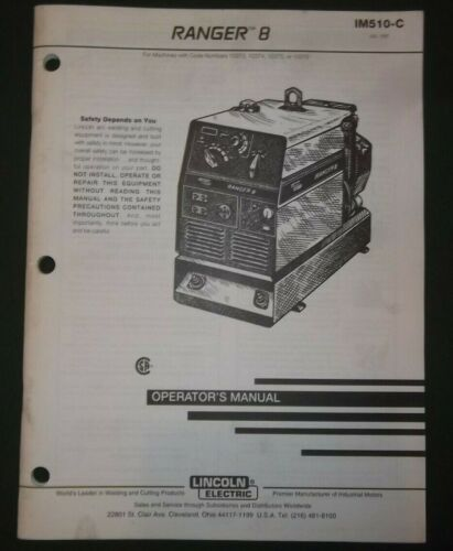 LINCOLN ELECTRIC RANGER B WELDER OWNERS & MAINTENANCE MANUAL