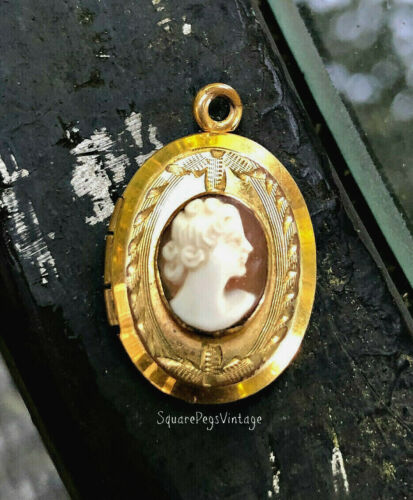 Antique 10K Gold Fill Cameo Locket Pendant Marked MM Carved Shell of Woman