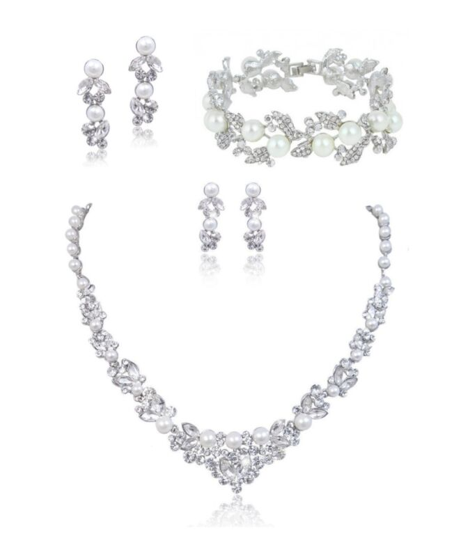Bridal Wedding Necklace Earring Bracelet Set Clear Swarovski Crystal White Pearl