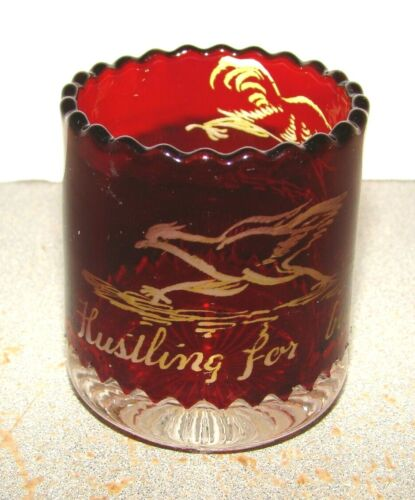 Hustling For Business Ruby Stained Toothpick Holder w/ Chickens