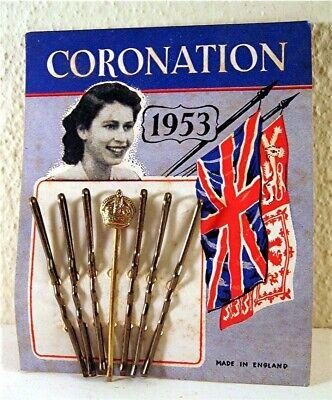 1953 Queen Elizabeth Coronation Bob Pin Store Display Card Old Stock England