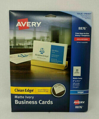 Avery Clean Edge Business Cards Matte Ivory 2 X 3-12 200 Cards 8876
