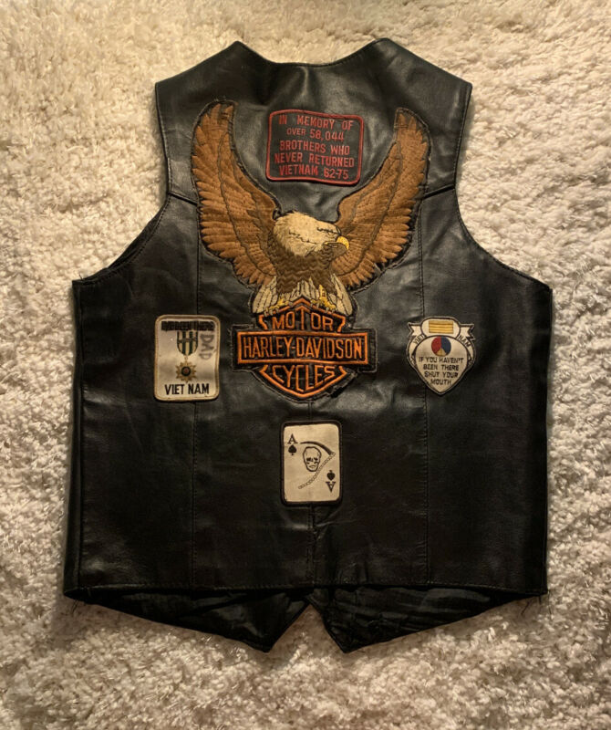 Vintage Rare 60s 70s Barneys Leather Harley Davidson Vietnam Patch Vest