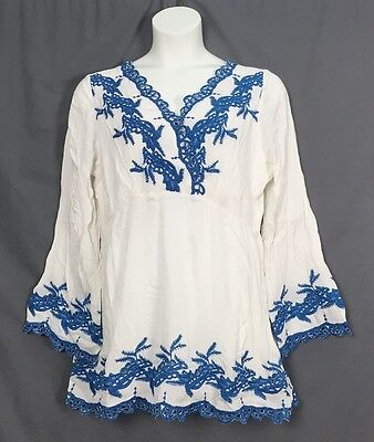 Plus Size Roamans Denim 24 7 Embroidered Peasant Boho Tunic Sizes 12W 32W Wh