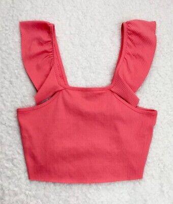 Zara Trafaluc Spring Summer 2017 Pink Ruffle Knit Crop Top Women's Size LARGE