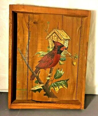 Vintage Wooden Tray Box with Painted Cardinal  14x10x2