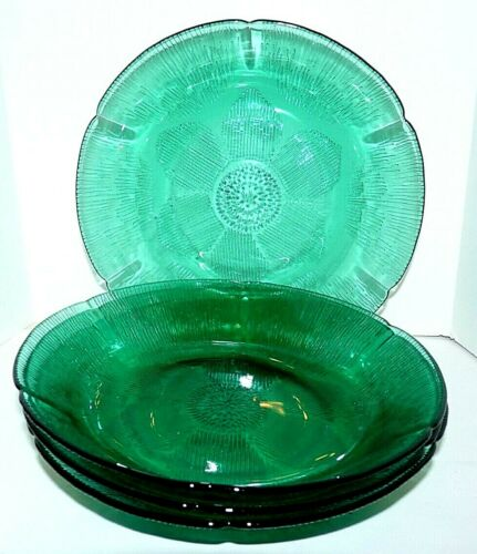 """Fortecrisa Peacock Green Teal Bowls set of 4 Sunflower pattern 8 1/4"""" Mexico"""