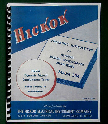Hickok 534 Tube Tester Instruction Manual Tube Data