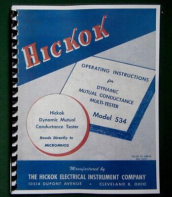 Hickok 534 Tube Tester Instruction Manual Tube Data