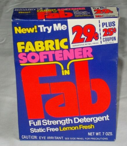 Vintage Fab Laundry Detergent with Fabric Softener 7 Oz BOX NOS NEW & SEALED