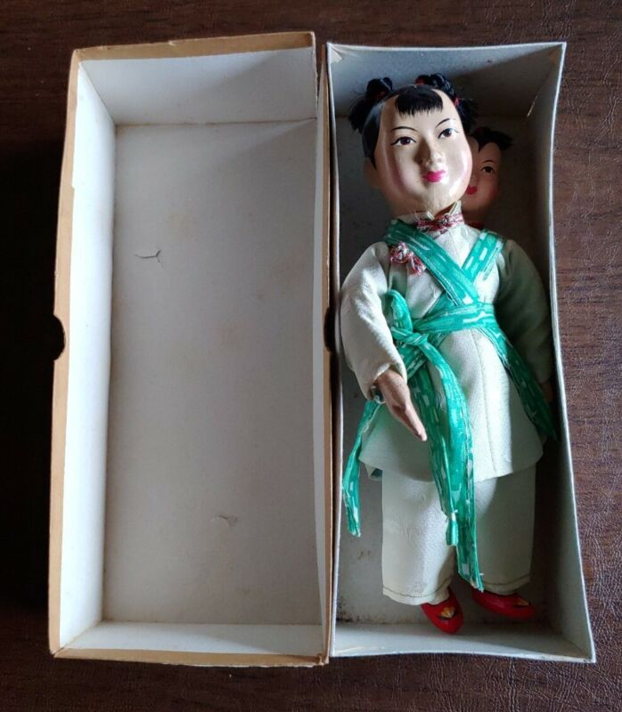 """VINTAGE CHINESE DOLL AMAH WITH CHILD #110 RARE 8"""" WITH ORIGINAL BOX"""