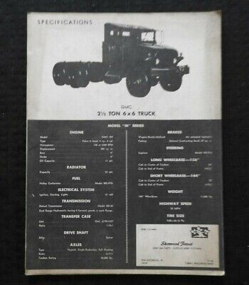 1950's-1960's GMC 2 1/2-TON 6x6 TRUCK SPECIFICATION & PARTS MANUAL CLEAN