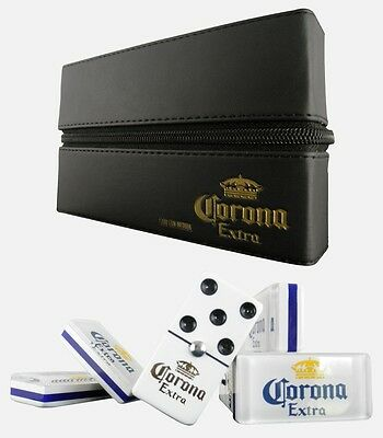 Corona Extra Cerveza Beer Dominoes Game Set Double Six Domino Leather Man Cave