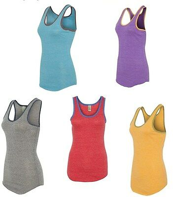 Alternative Apparel Ladies S-XL Eco Jersey Ringer Racerback Tank Top T-Shirt Tee