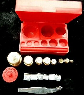Ohaus 1970s Vintage 14-piece Student Metric Weight Set In Original Box