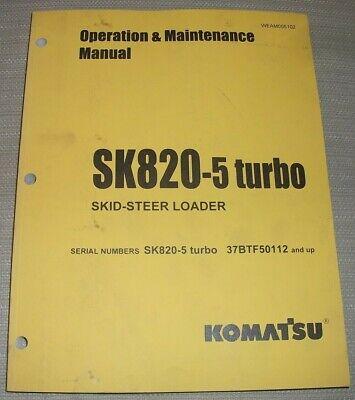 Komatsu Sk820-5 Skid Steer Loader Operation Maintenance Manual Sn 37btf50112-up
