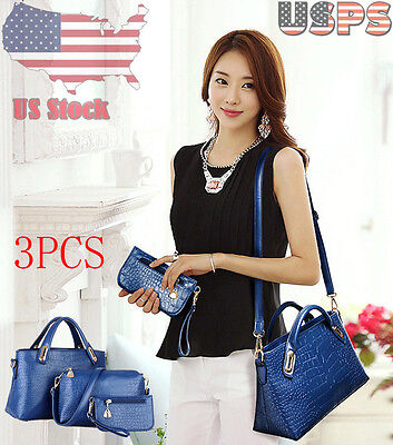 3pcs Handbag Shoulder Bags Tote Purse Leather Women Ladies Messenger Hobo Bag