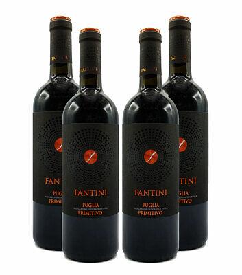 Farnese Fantini Puglia Primitivo 4er Set Rotwein aus Italien 4x 0,75L (14% Vol)