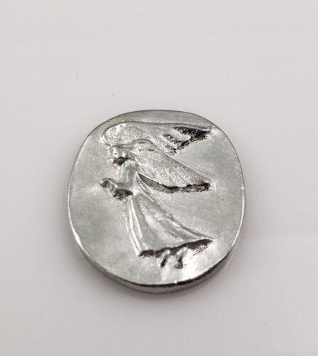 """V+K Vilmain & Klinger Guardian Angel Pocket Pewter Coin Token 1"""" Height (New)"""