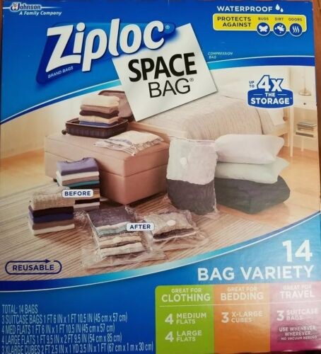 Ziploc Space Bag 14 Bag Variety - 14pc 4-M, 4-L, 3-XL Cubes,