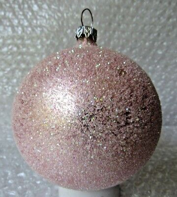 Vintage Glass Christmas Ornament LOADED FILLED W/ PINK GLITTER GERMANY LARGE 3.5