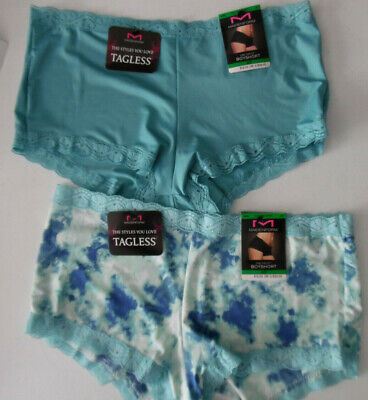 Blue Boys Panty (2 Maidenform Panty Lace Boy Short Boyshort 40760 Blue Green White Print 7 L NWT)