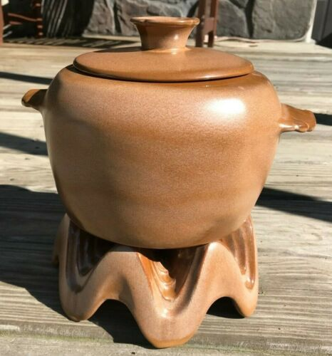 VINTAGE Mid Century Frankoma Bean Pot with Lid and Warmer Cinnamon Brown 5W