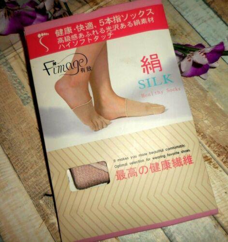 FIMAGE ~  SPUN SILK 5 FINGER / TOE  HALF SOCK ~  PINK ~