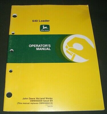 John Deere 640 Loader Operator Operation Maintenance Manual Book