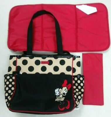 Disney Baby minnie mouse polka dot zip up Black and sandy beige diaper bag