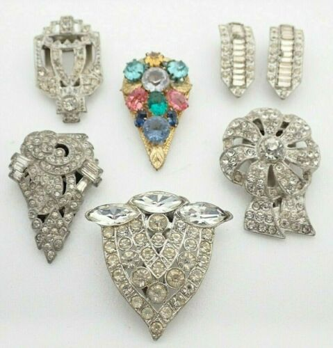 Vintage Art Deco Lot of Rhinestone Jewelry Brooches Pins Dress Clips