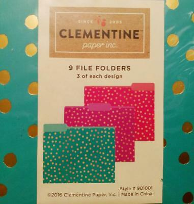 Clementine Paper File Folders 9 Ct Set Teal Fuchsia Purple With Gold Dots New