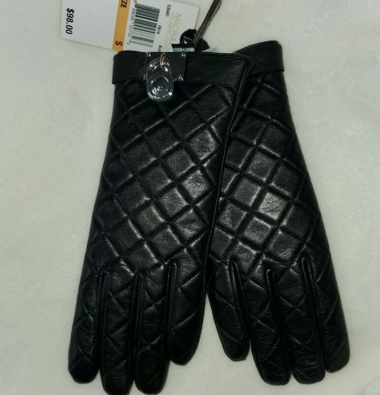 MICHAEL KORS  Black Leather Gloves Women's Size Small