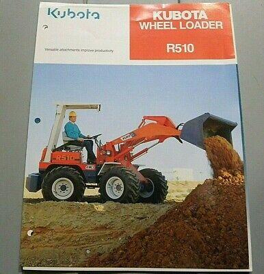Factory 1990 Kubota R510 Wheel Loader Dealership Spec Brochure Manual