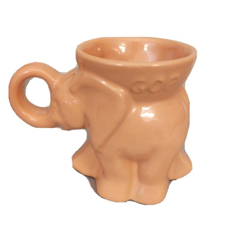 GOP 2000 Pink Elephant Mug Frankoma Pottery Bush/Cheney
